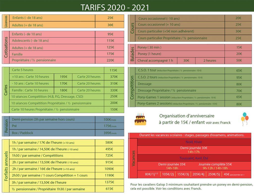 tarif 2021 ecurie dan crys
